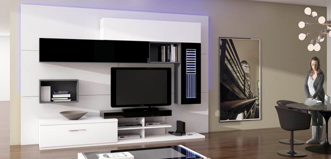 Muebles touch salones for Modulos salon blanco